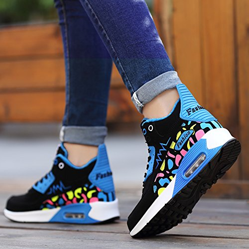 Winter para Zapatillas creciente mujeres trotar Sneakers altura mujer encaje la de Sneakers Green hasta Mantenga caliente cómodas exterior O4fqwan1