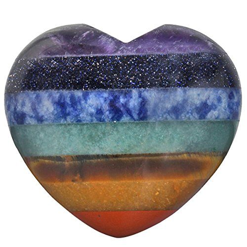 rockcloud Healing Crystal 1.6 inch Rainbow Heart Love Carved Palm Worry Stone Chakra Reiki Balancing