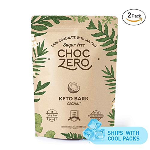 ChocZero's Keto Bark, Dark Chocolate Coconuts with Sea Salt. Sugar Free, Low Carb. No Sugar Alcohols, No Artificial Sweeteners, All Natural, Non-GMO (2 bags, 6 servings/each) (Premium Belgian Chocolate Truffles)