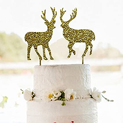 wedding cake topper with elkgold christmas cake toppergold couple deer cake topper - Christmas Cake Decorations Amazon