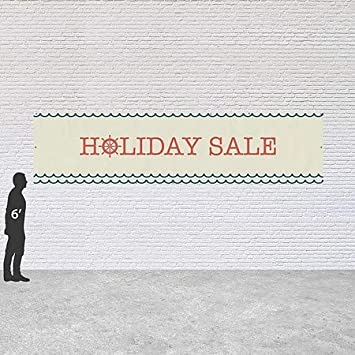 12x3 Holiday Sale CGSignLab Nautical Wave Heavy-Duty Outdoor Vinyl Banner