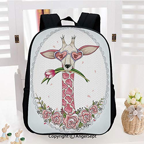Casual Style Lightweight Backpack Cute Hipster Giraffe with Tulip and Heart Shaped Glasses Vintage Frame School Bag Travel Daypack,Baby Blue Light Pink