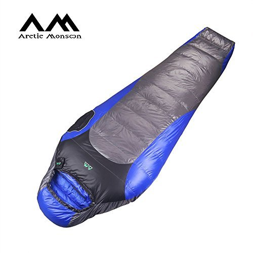 Ultralight Down Mummy Sleeping Bag (Arctic Monsoon Ultralight Sleeping Bag, 3 Seasons 32 Degree Down Mummy Bags, Lightweight Compression Sack for Adults, Camping, Backpacking, Hiking)