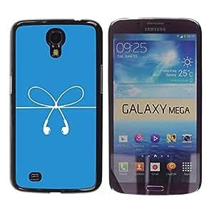 Be Good Phone Accessory // Dura Cáscara cubierta Protectora Caso Carcasa Funda de Protección para Samsung Galaxy Mega 6.3 I9200 SGH-i527 // Bow Strings White Blue Ear Plugs Art
