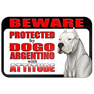 """Diuangfoong Beware Protected by Dogo Argentino with Attitude 12"""" X 18"""" Inch Aluminum Metal Sign 15"""