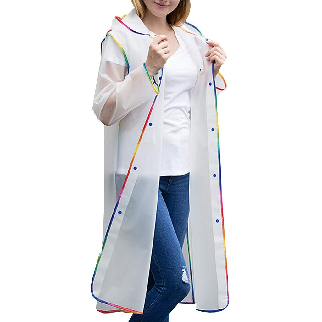 Men's and Women's Edge-Wrapped Plain Backpack Raincoat - Adult Portable Waterproof Poncho Rainwear Jacket Cape with Hoods and Sleeves - Transparent EVA for Outdoor Camping Walking (White, 2XL)