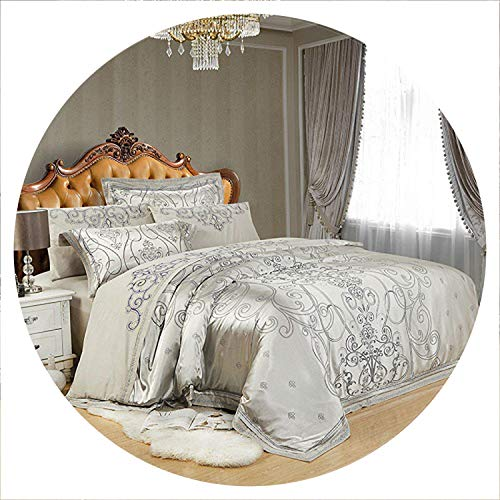 retro store Silver Gold Luxury Silk Satin Jacquard Duvet Cover Bedding Set Queen King Size Embroidery Bed Set Bed Sheet/Fitted Sheet Set,Color 2,Queen 4Pcs,Bed Sheet Style