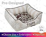 Designer Dog Bed Cat Bed Personalize Brown Linen Stripe Damask Beautiful pet Bed