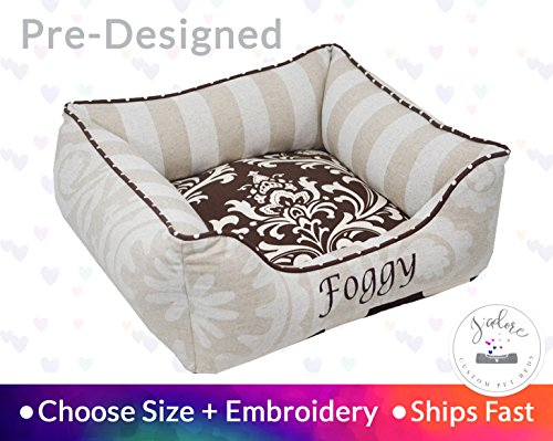 Designer Dog Bed Cat Bed Personalize Brown Linen Stripe Damask Beautiful pet Bed by J'adore Custom Pet Beds