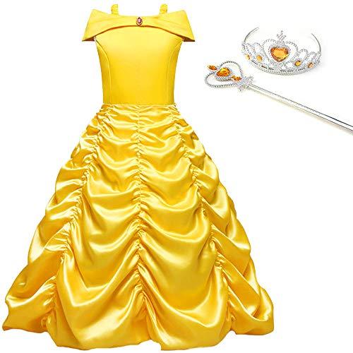 JYH Girls' Princess Belle Off Shoulder Costumes Halloween Party -