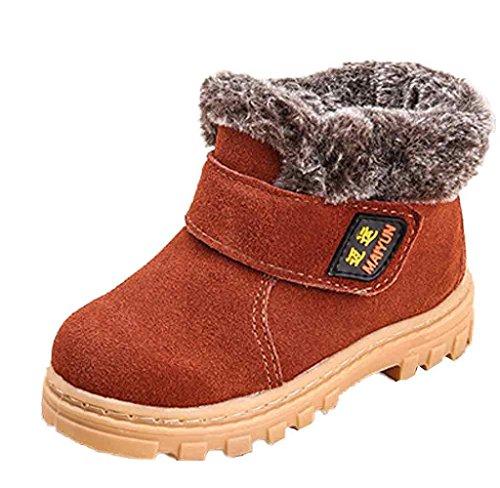 Winter Kinder Baby Jungen Mädchen Stiefel Schneestiefel Covermason Warm Leder Schuhe Braun