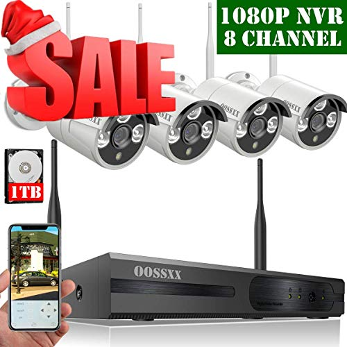 【2019 Update】 HD 1080P 8-Channel OOSSXX Wireless Security Camera System,4Pcs 720P(1.0 Megapixel) Wireless Indoor/Outdoor IR Bullet IP Cameras,P2P,App, HDMI Cord & 1TB HDD Pre-Install