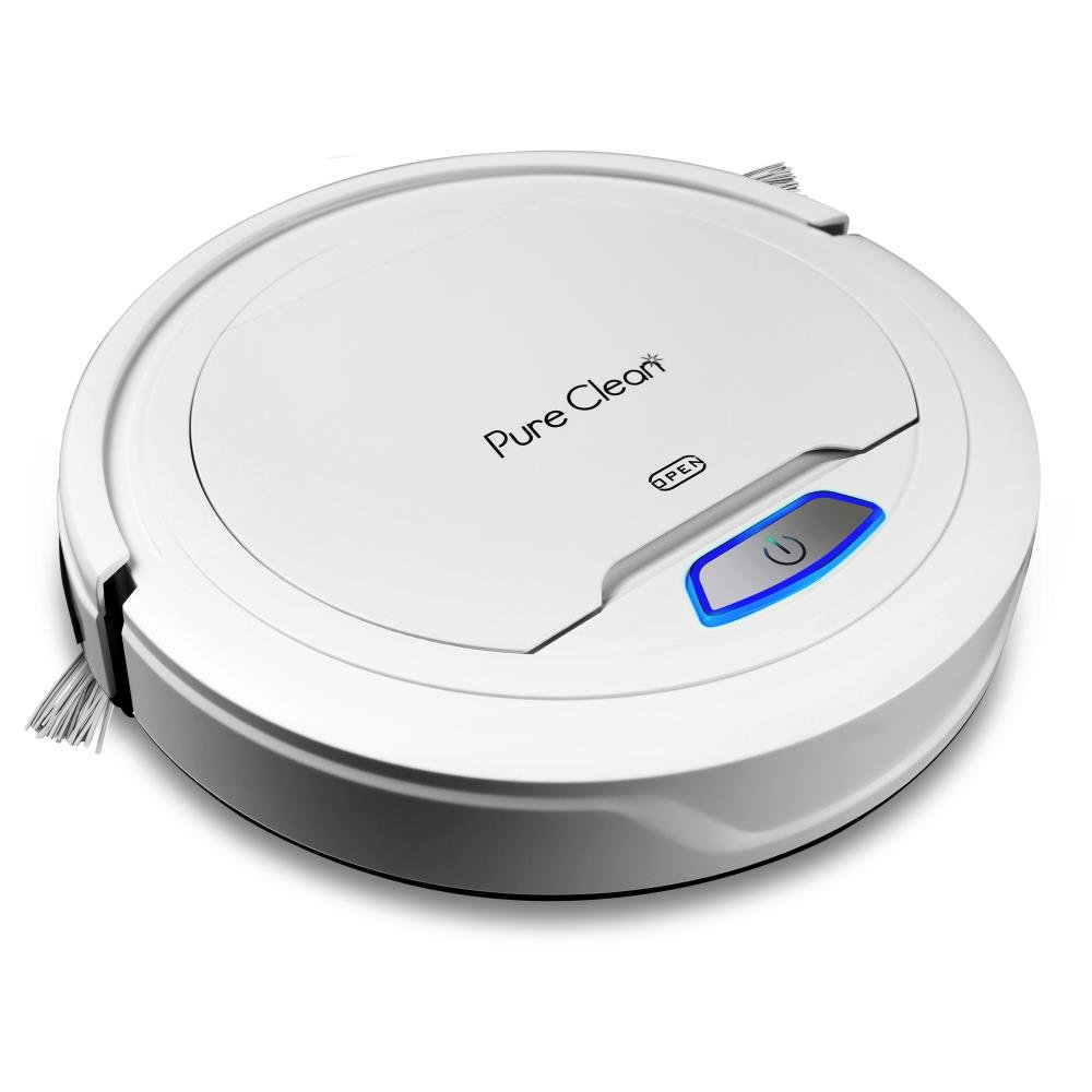 PureClean Automatic Robot Vacuum Cleaner - Bot Self Detects Stairs - HEPA Filter Pet Hair Allergies Friendly Robotic Auto Home Cleaning for Clean Carpet Hardwood Floor