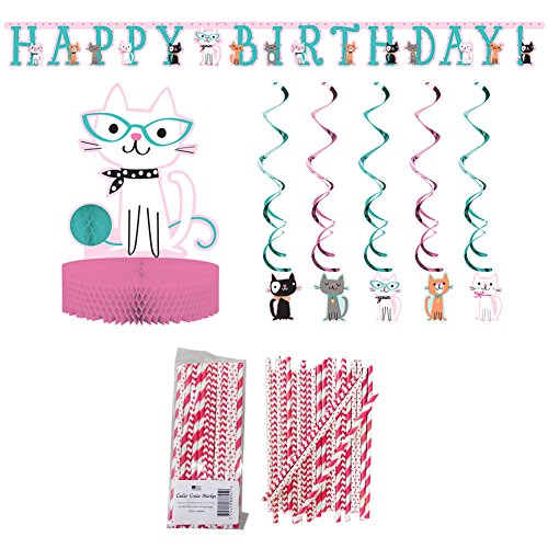 (Purr-FECT Birthday Party Supplies Pack: Straws, Party Banner, Dizzy Danglers, and Honeycomb Centerpiece)