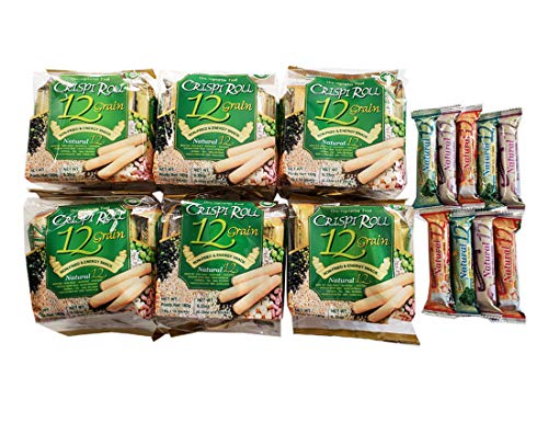 Crispi Roll 12 Grain 6 Pack plus Variety Seaweed, Taro & Milk Sample 9 Rolls