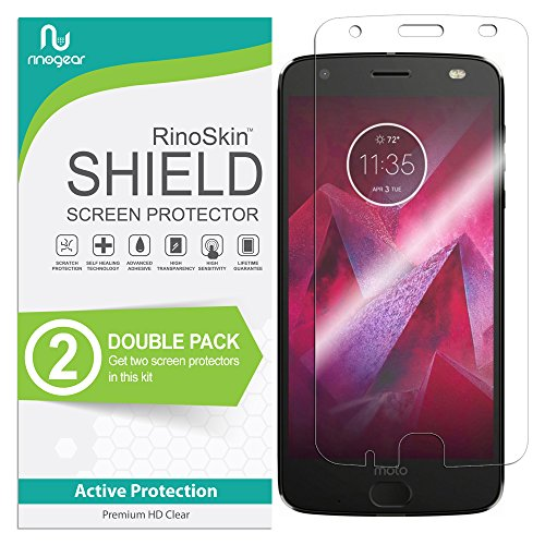 (2-Pack) Motorola Moto Z2 Force Edition Screen Protector RinoGear Case Friendly Screen Protector for Motorola Moto Z2 Force Edition Accessory Full Coverage Clear Film