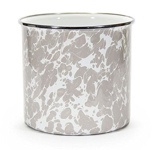 Kitchen Utensil Holder Crock Kitchen Storage Organization Containers Taupe Swirl Enamelware 6'' Set of 2