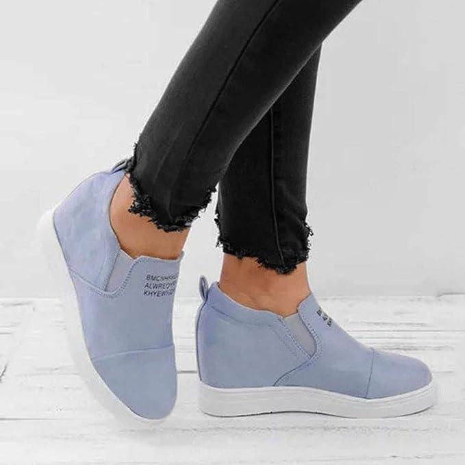 LILICAT ✈✈ 2019 Aumento de Color sólido Zapatos Solos Botas descubiertas Botas Cortas Mocasines Mujer Moda para Mujer Tobillo Carta Cuñas crecientes ...