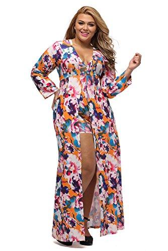 c75128bfd3b74 Home Brands XAKALAKA XAKALAKA Women s Sexy V-Neck Floral Romper High Slit  Plus Size Maxi Dress 2XL.   