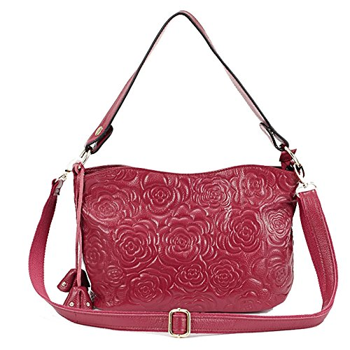 Light Embossed Rose Zipper Purple Womens Cross Shoulder Purses Satchel Ladies Handbags Leather Bags Px5Ad1w