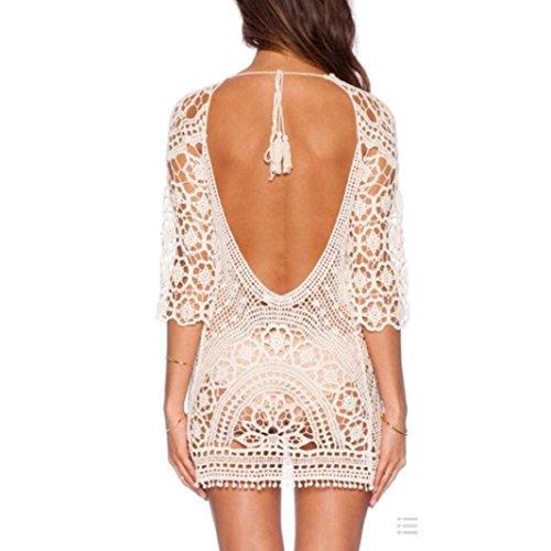 Noir Robe sexy Blanc plage pour Taille femme en de dentelle unique 6r6qwzI