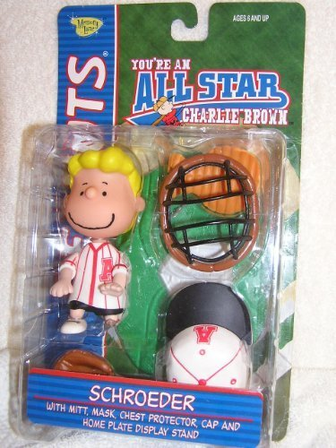 Peanuts Schroeder Baseball Catcher Figure In Red Uniform with Accessories by Playing (Schroeder Costume)