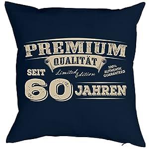 Goodman Design ® Cojín con mensaje Cumpleaños Diseño: Premium Calidad desde 60años–Sofá Cojín–Regalo–Navyblau