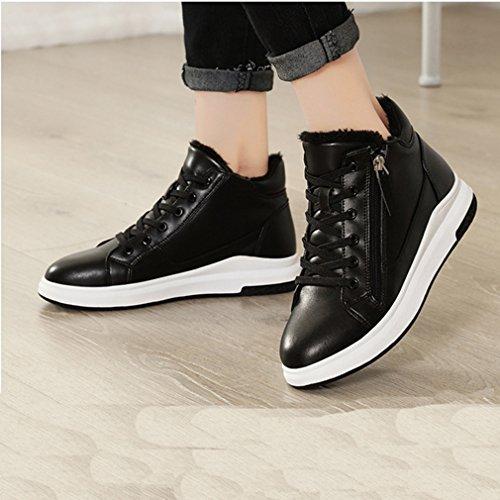 Giy Femmes Mode Haut Haut Baskets À Glissière Plate-forme Coins Cachés Talon Bout Rond Casual Sneaker Chaussures Noir