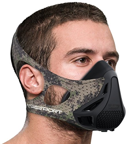 Aduro Sport Workout Training Mask   For Running Biking Training And Fitness  Achieve High Altitude Elevation Effects With 4 Level Air Flow Regulator  Peak Resistance    Camo