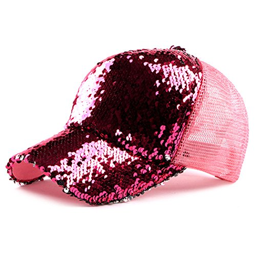 IZUS Sequin Hat,Baseball Hat Reversible Magic Sequin Adjustable Baseball Cap (Hot Pink)]()