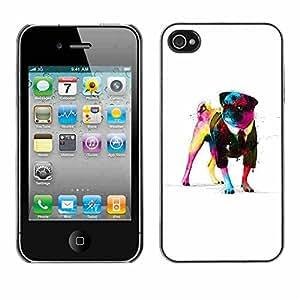 Shell-Star ( Cool Awsome Gentleman Pug ) Fundas Cover Cubre Hard Case Cover para Apple iPhone 4 / 4S