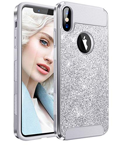"Fingic iPhone Xs Max Case Gliiter Luxury Cute Shiny Bling 2 in 1 Design with Soft Flexible TPU Back Hard PC Slim Fit Full Body Shockproof Protective Case for iPhone Xs Max 6.5""(2018) - Silver"