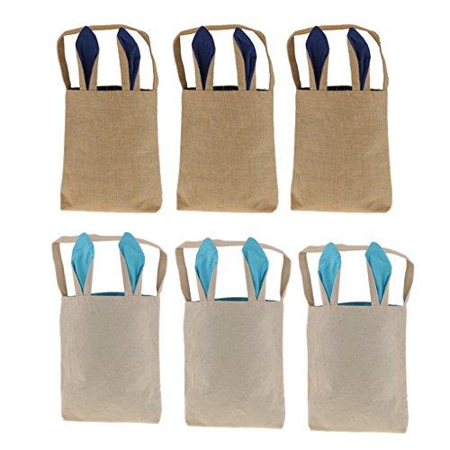 MonkeyJack 6Pcs Cute Rectangle Easter Basket Handbag Linen B