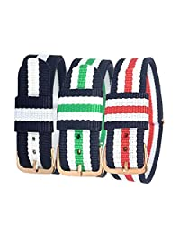 BINZI 3 Pieces Watch Bands Multi-Color Canvas Strap Replacement Band Stainless Steel Buckle for all Watches 18mm 20mm Width (Gold Buckle 20mm)