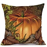 Pumpkin Throw Pillow Cover Halloween Cushion Case 18 x 18 Inch Autumn Fall Thanksgiving Home Decoration for Sofa Living Room