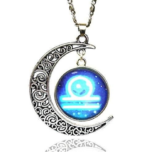 Fariishta Jewelry Gemstone Constellation Star Moon Time Libra Pendant Necklace