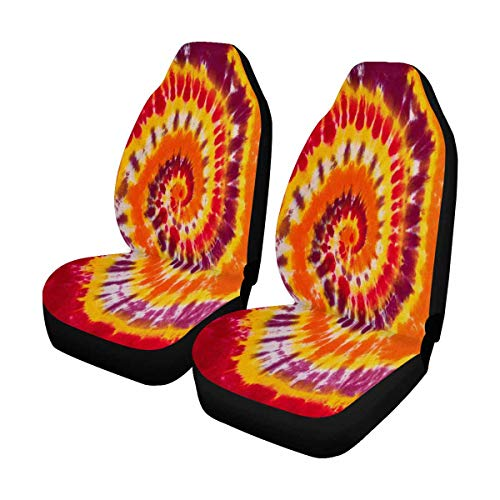 INTERESTPRINT Colorful Tie Dye Swirl Spiral Design Auto Seat Covers 2 pc, Car Front Seat Cushion Fit Car, Truck, SUV or Van