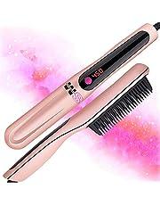 Cepillo caliente profesional | Alisador de pelo de hierro iónico turmalina de cerámica | alisa y rizos SM LITERS BEAUTY Peine alisador de barba, cepillo alisador de pelo