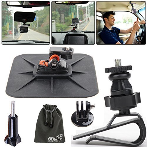 Car Dashboard Suction Pad Mount,Car Sun Visor Holder,Tripod Mount Adapter for All GoPro HERO 4 3 Plus 3 2 1 Session LCD, EEEKit Car Mount Kit
