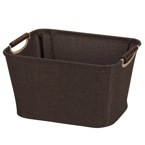 Household Essentials 600 Small Tapered Fabric Storage Bin with Wood Handles | Coffee Linen