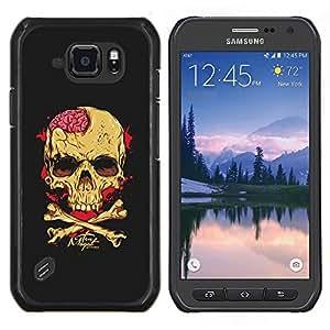 LECELL--Funda protectora / Cubierta / Piel For Samsung Galaxy S6Active Active G890A -- Cerebros Cráneo Amarillo Negro bandera pirata --