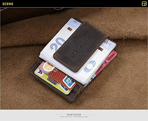 Men's Women's Crazy Horse Leather Magnetic Money Clip Wallet Id Card Holder (Coffee)