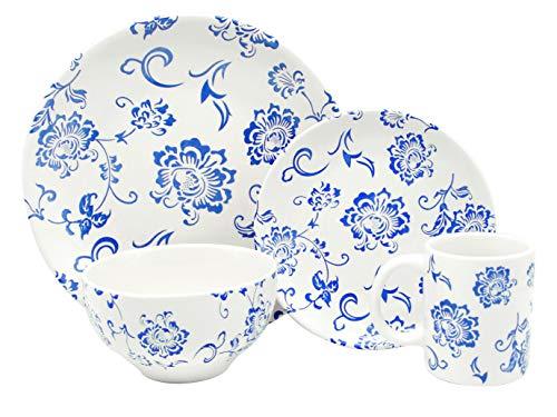 - Melange Coupe 18-Piece Porcelain Dinnerware Set (Indigo Royale Collection) | Service for 6 | Microwave, Dishwasher & Oven Safe | Dinner Plate, Salad Plate, Soup Bowl (6 Each)