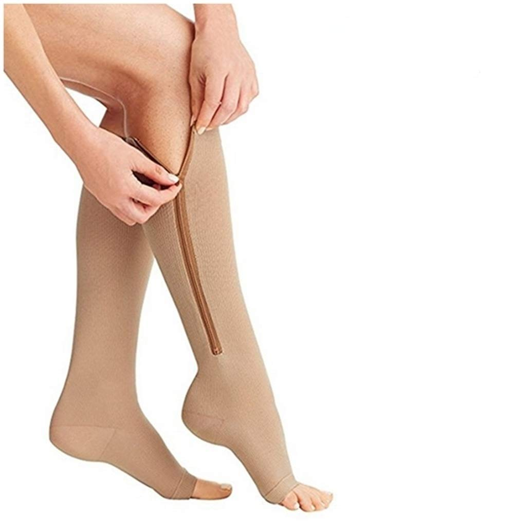 (2 Pairs) Compression Socks, New Compression Zip Sox Socks Stretchy Zipper Leg Support Unisex Open Toe Knee Stockings (beige, L/XL) by Aisprts