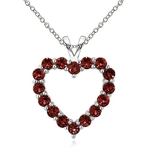 Sterling Silver Garnet Open Heart Necklace -