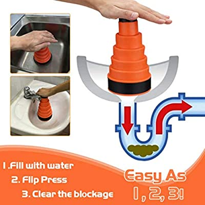 gugs Plunger Bellows Accordion Toilet Plunger, High Pressure Thrust Plunge Removes Heavy Duty Clogs from Clogged Bathroom Toilets, All Purpose Commercial Power Plungers for Any Bathrooms (Orange) : Garden & Outdoor