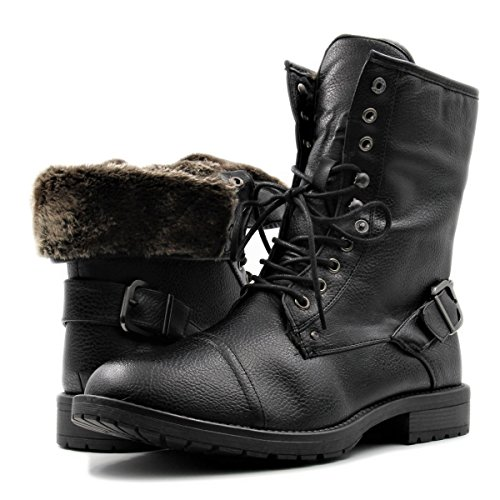 Stylish & Comfort Men's Lace up Cap Toe Winter Ankle Combat Boots with Foldable Shaft for Snow/Cold Weather (8.5, Black) (Boots Snow Mens Motorcycle)