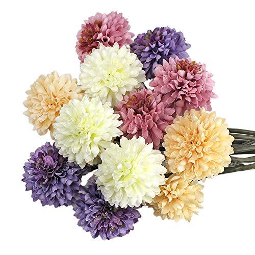 Snail Garden 12 Pcs Artificial Chrysanthemum Silk Hydrangea Flowers Bouquet with Hemp Rope for Home Room Office Wedding Party Decor (Purple/Pink)