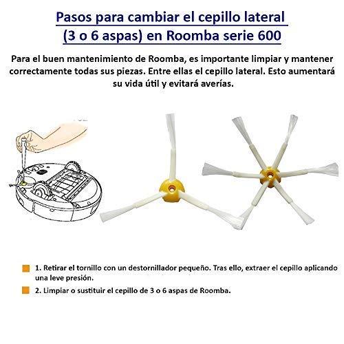 MIRTUX Kit de repuestos iRobot Roomba serie 600. Pack de cepillos y accesorios reemplazo de aspiradora modelo 605 610 612 615 616 620 621 630 631 645 650 ...