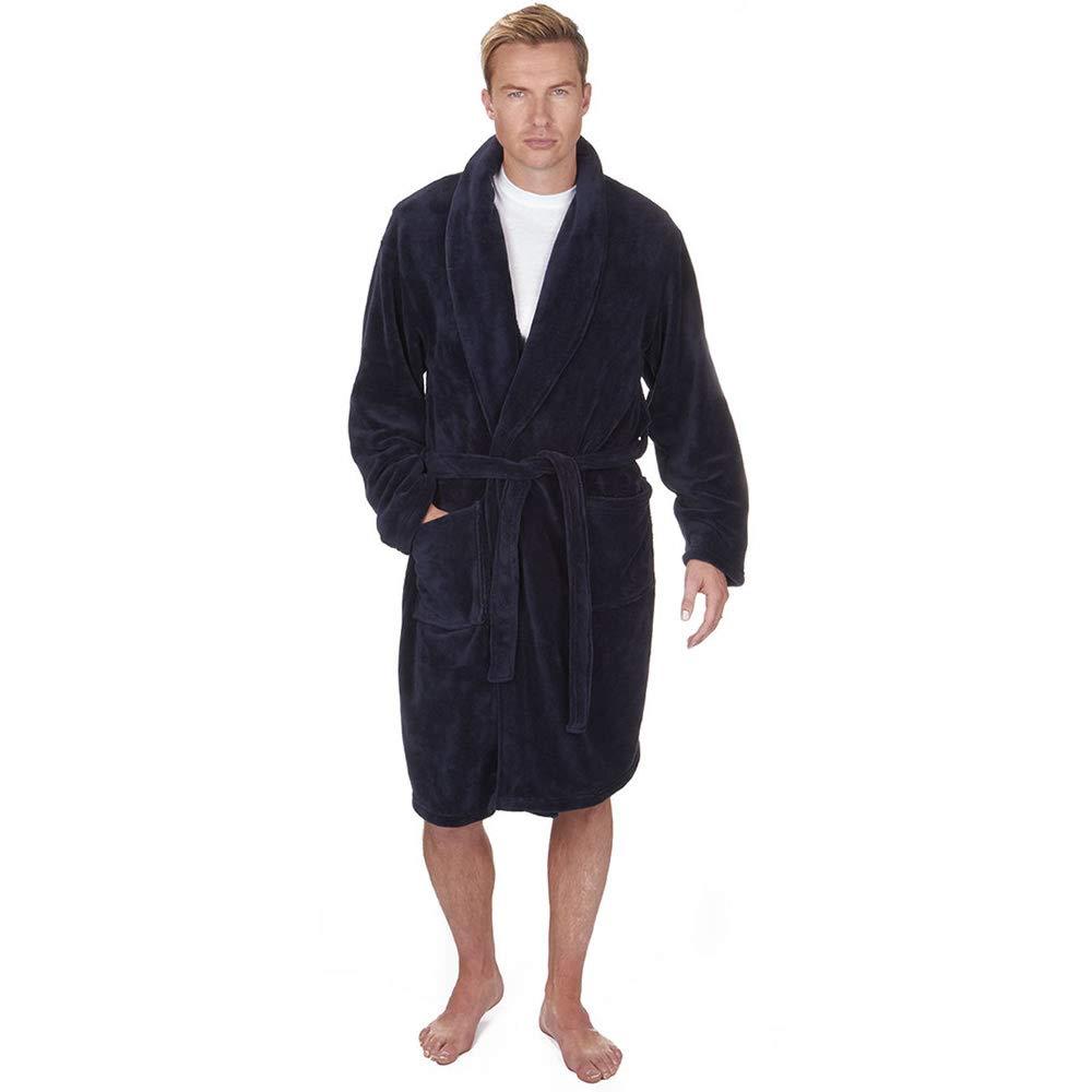 C&D Mens Super Soft Plain Fleece Dressing Gown Long Sleeved Warm Bathrobe